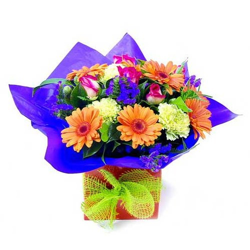 Blue flower gift for new born boy