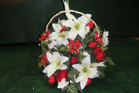 Large luxury Wicker Basket with mixed flowers