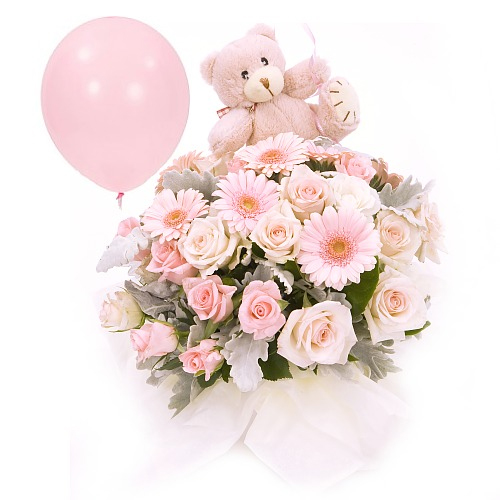Pink flower gift for new born girl