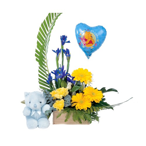 Yellow flower gift for new born boy